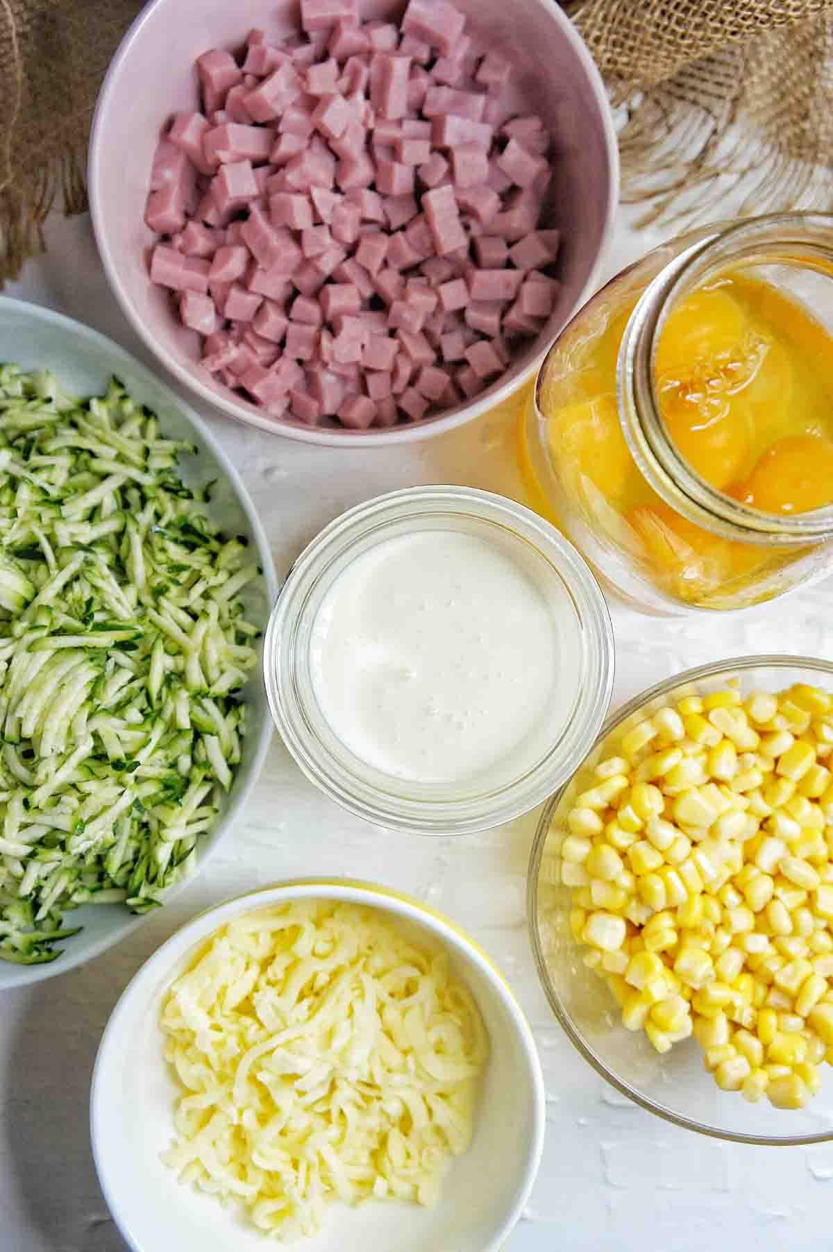 Ingredients for gluten free zucchini slice recipe