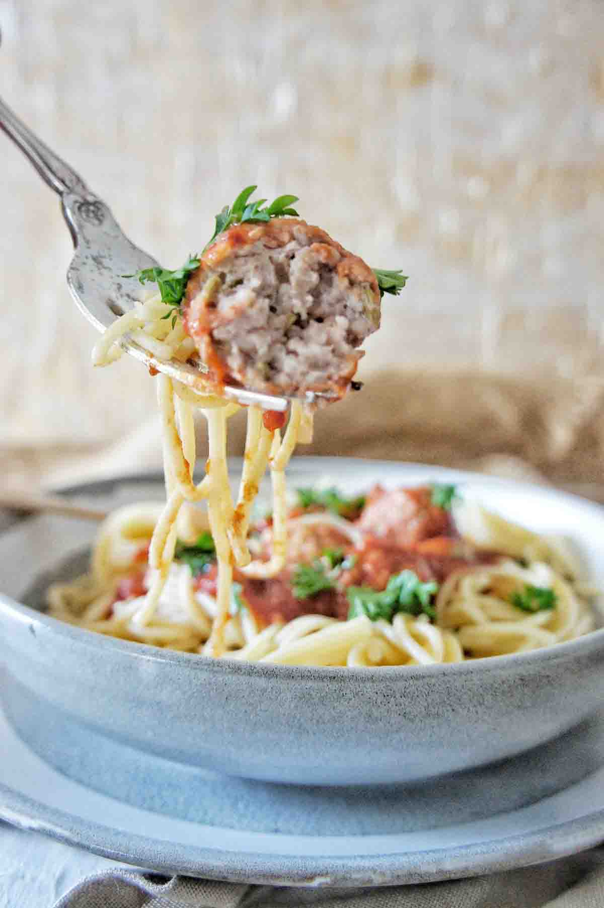 Half eaten meatball on a fork with spaghetti above a bowl of meatball spaghetti