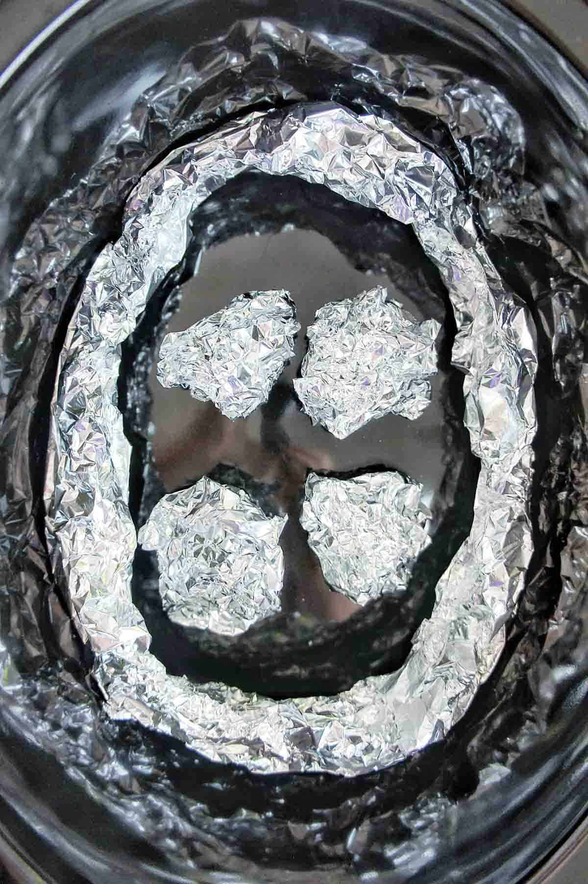 Alfoil rack for slow cooker demonstration