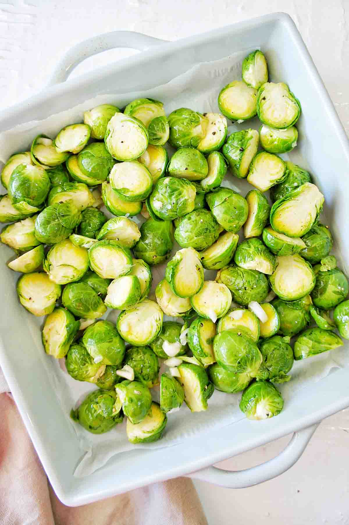 Brussel Sprouts in a blue baking tray