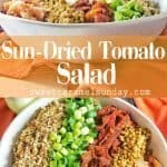 Sun-dried tomato salad with text overlay