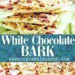 White Chocolate Bark with text overlay