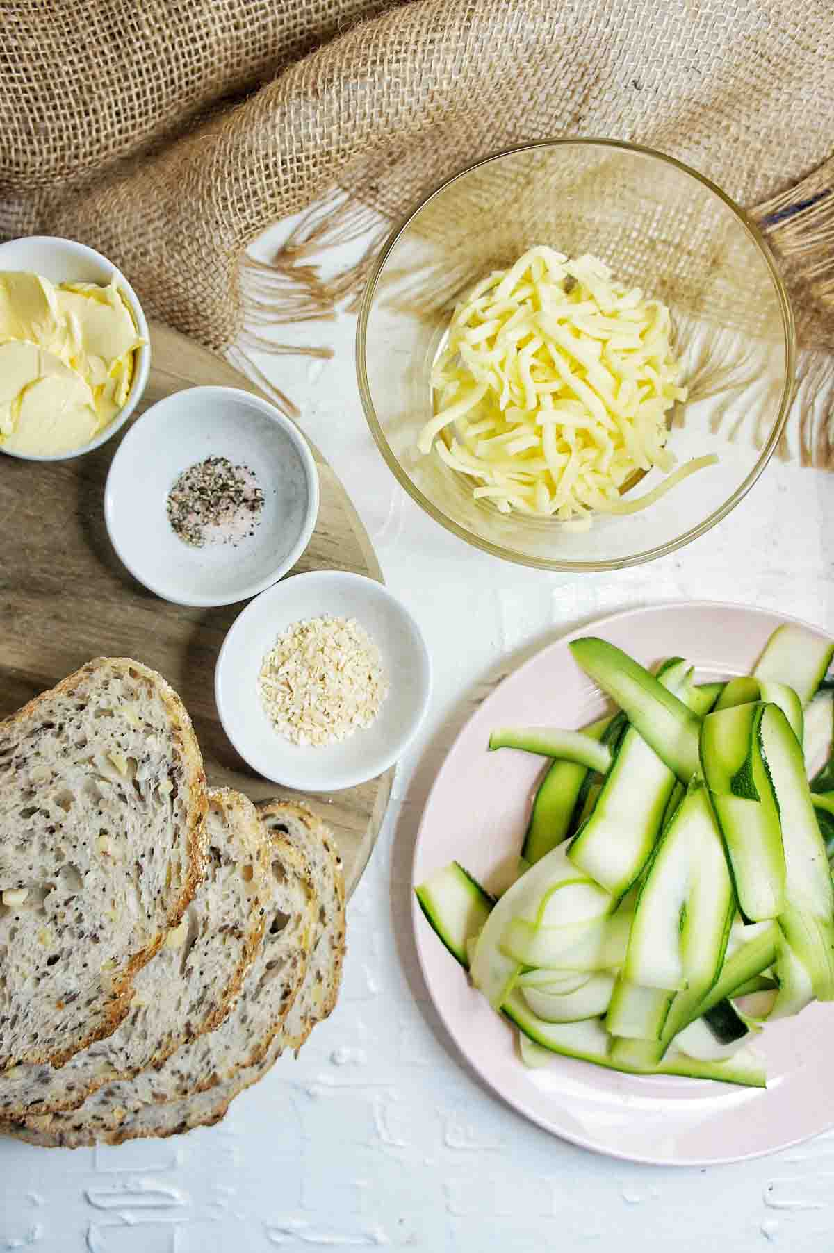 Ingredients set out to make Zucchini Grilled Cheese