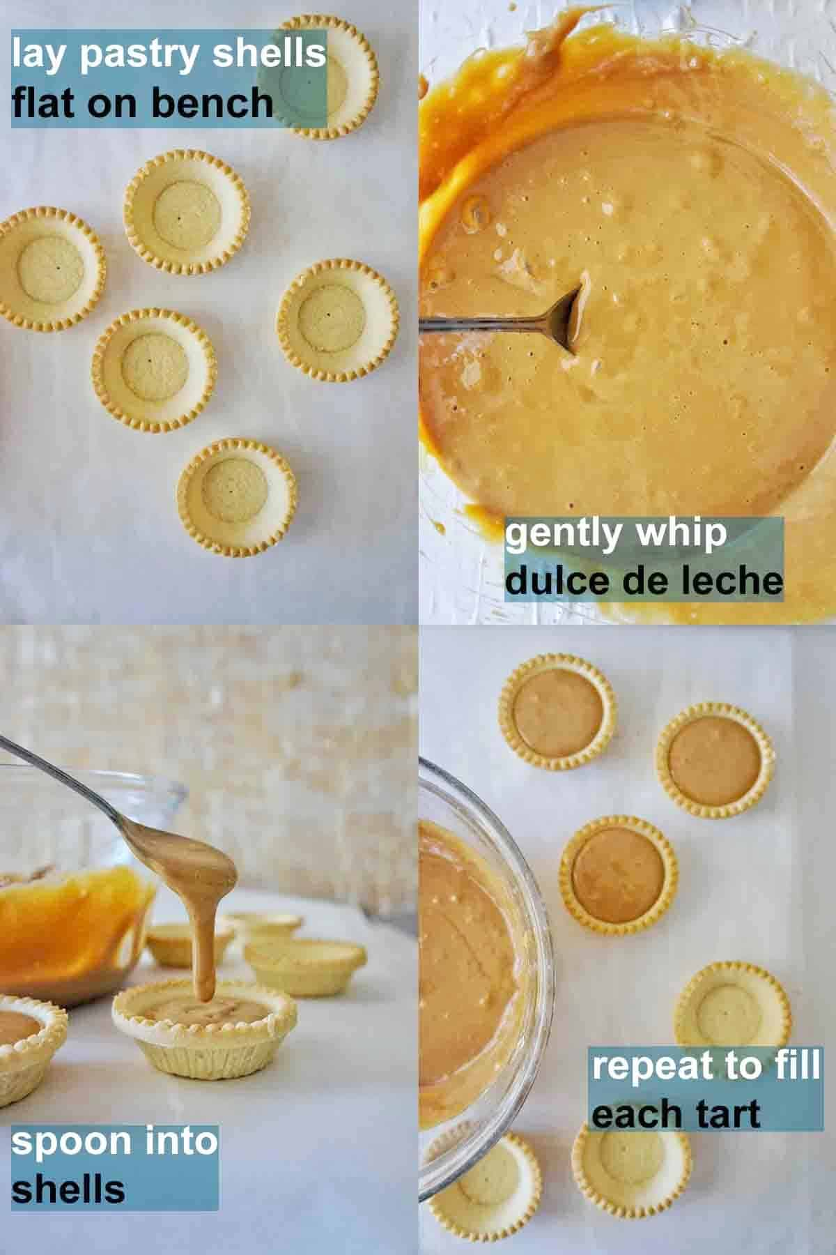 How to make dulce de leche tarlets step by step