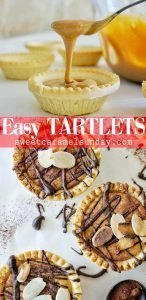 Dulce de Leche tartlets with textoverlay