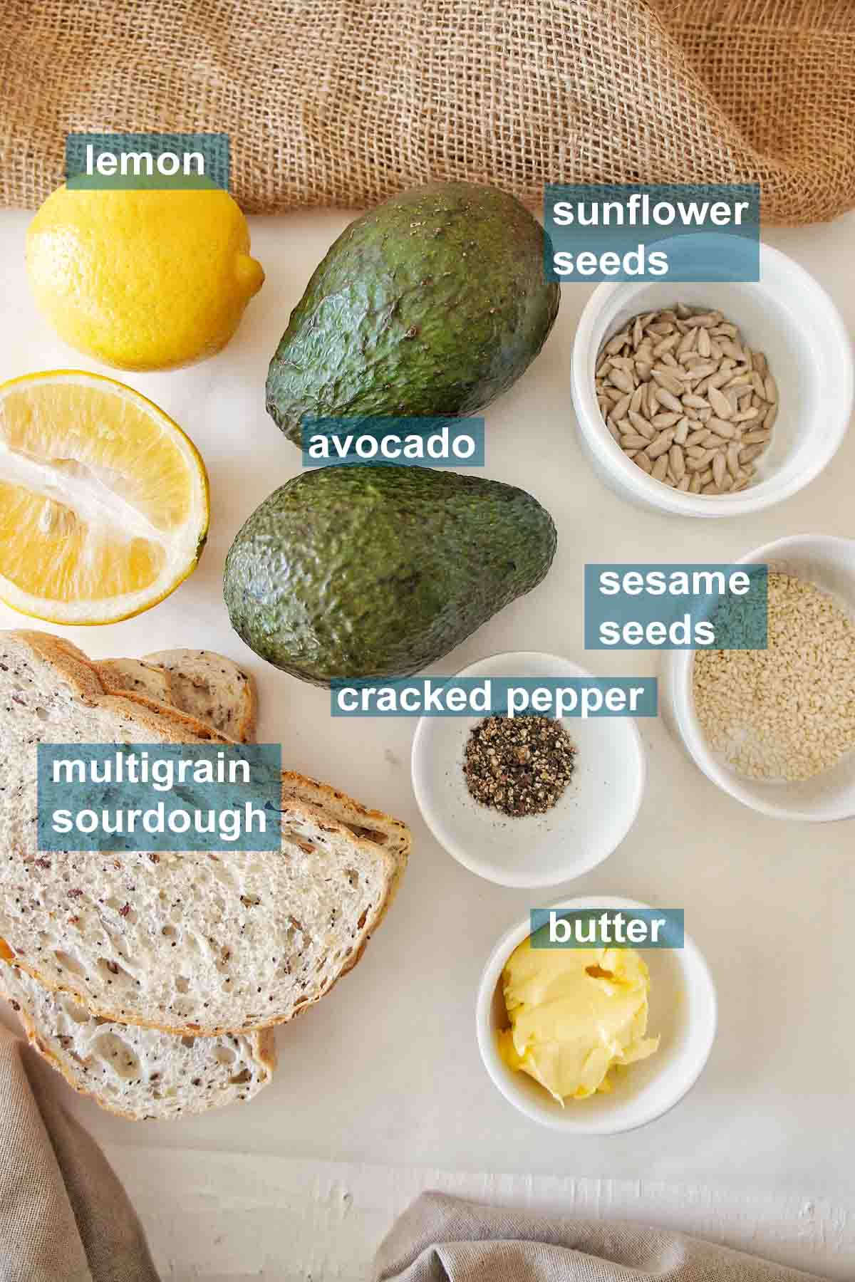 Simple Avocado Toaast ingredients on a white background