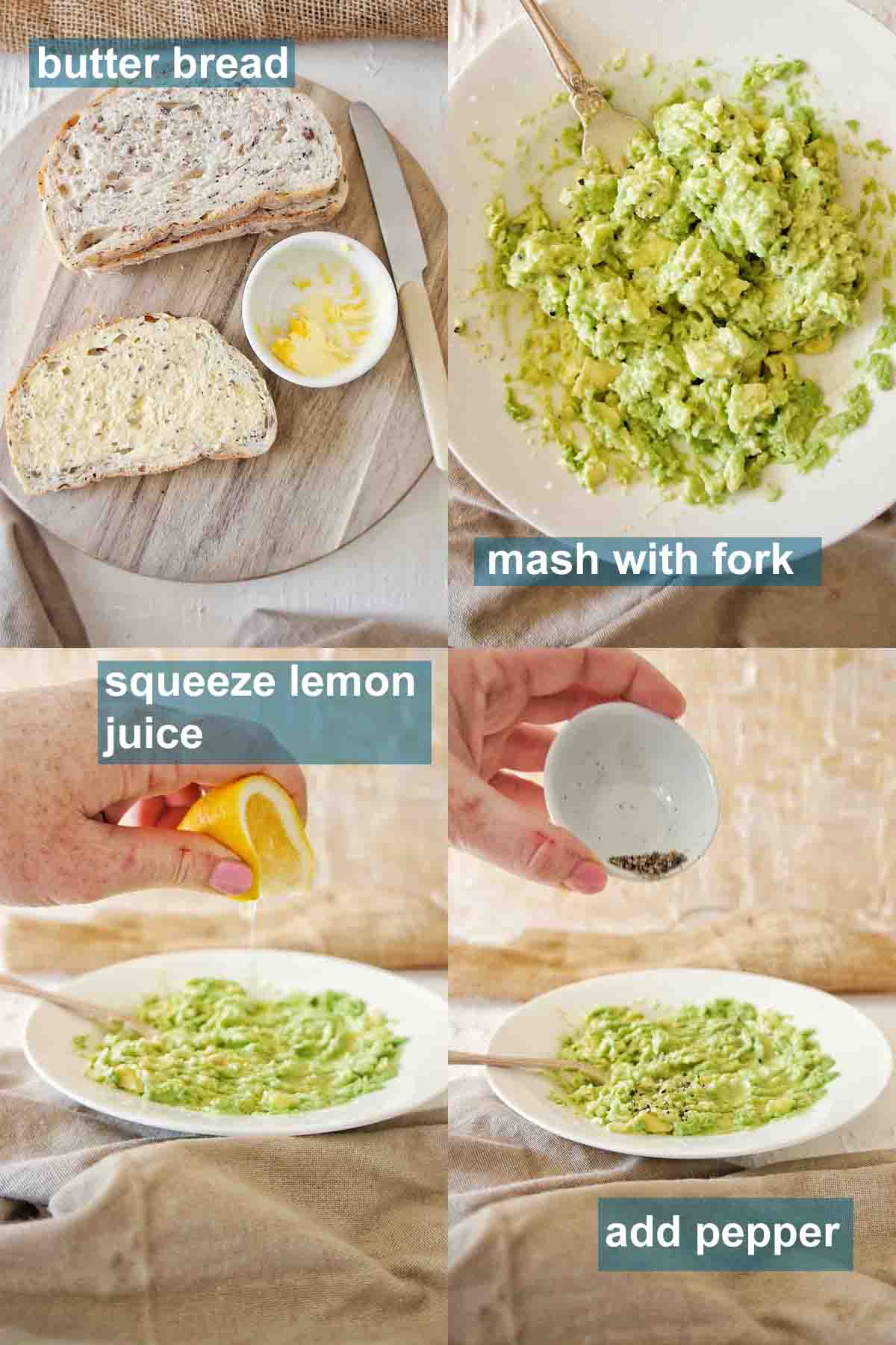 Simple avocado toast instructions with text labels