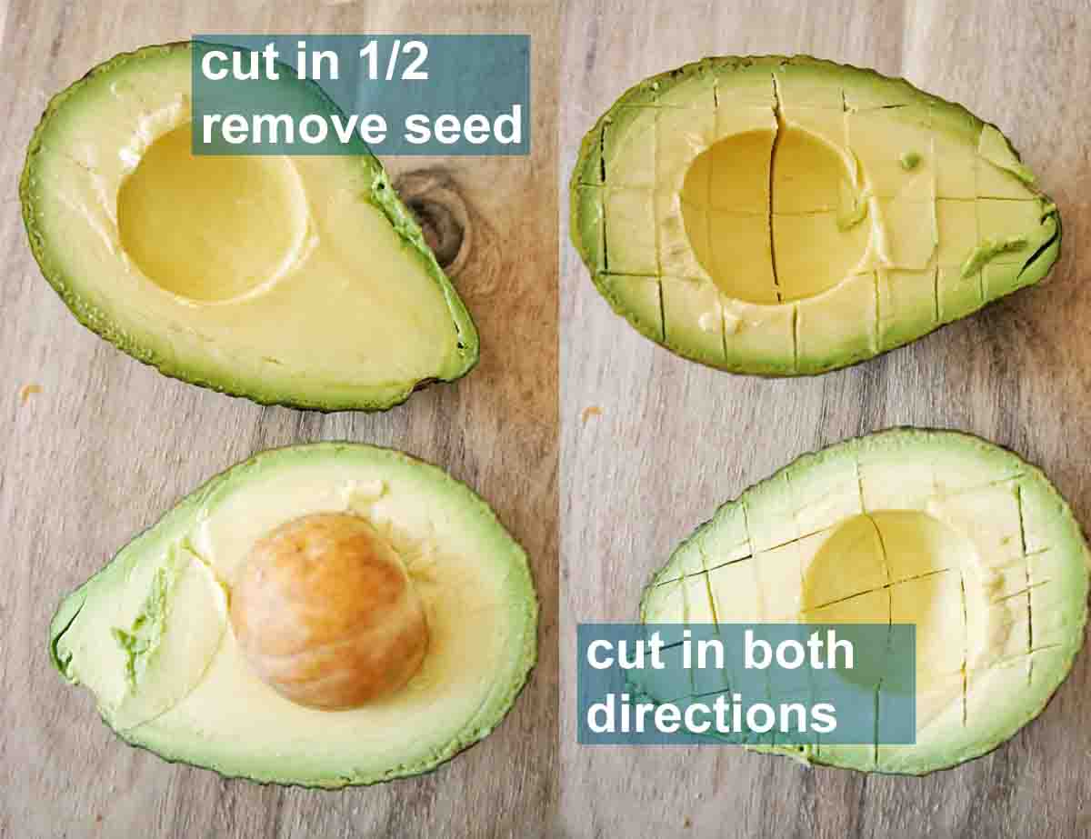 2 Avocados cut in half side by side one with the seed and one with the seed removed