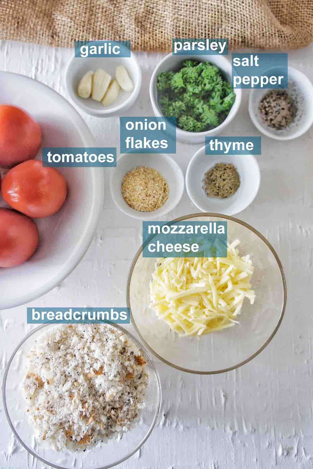 Tomato Mac and Cheese ingredients with text overlay