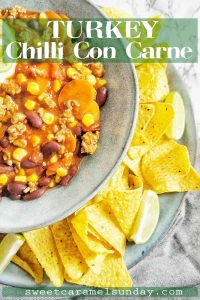 Turkey Chilli Con Carne with text overlay