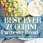 Zucchini Parmesan Bread with text overlay
