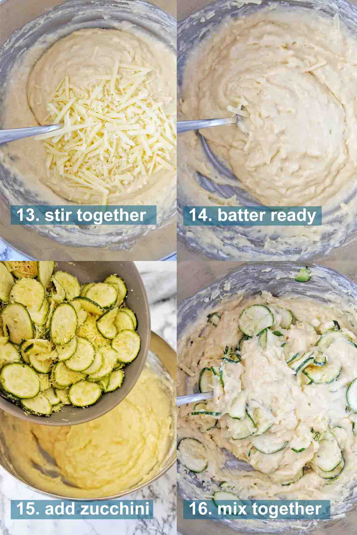 Zucchini Parmesan Muffins stes 13 through 16 with text overlay