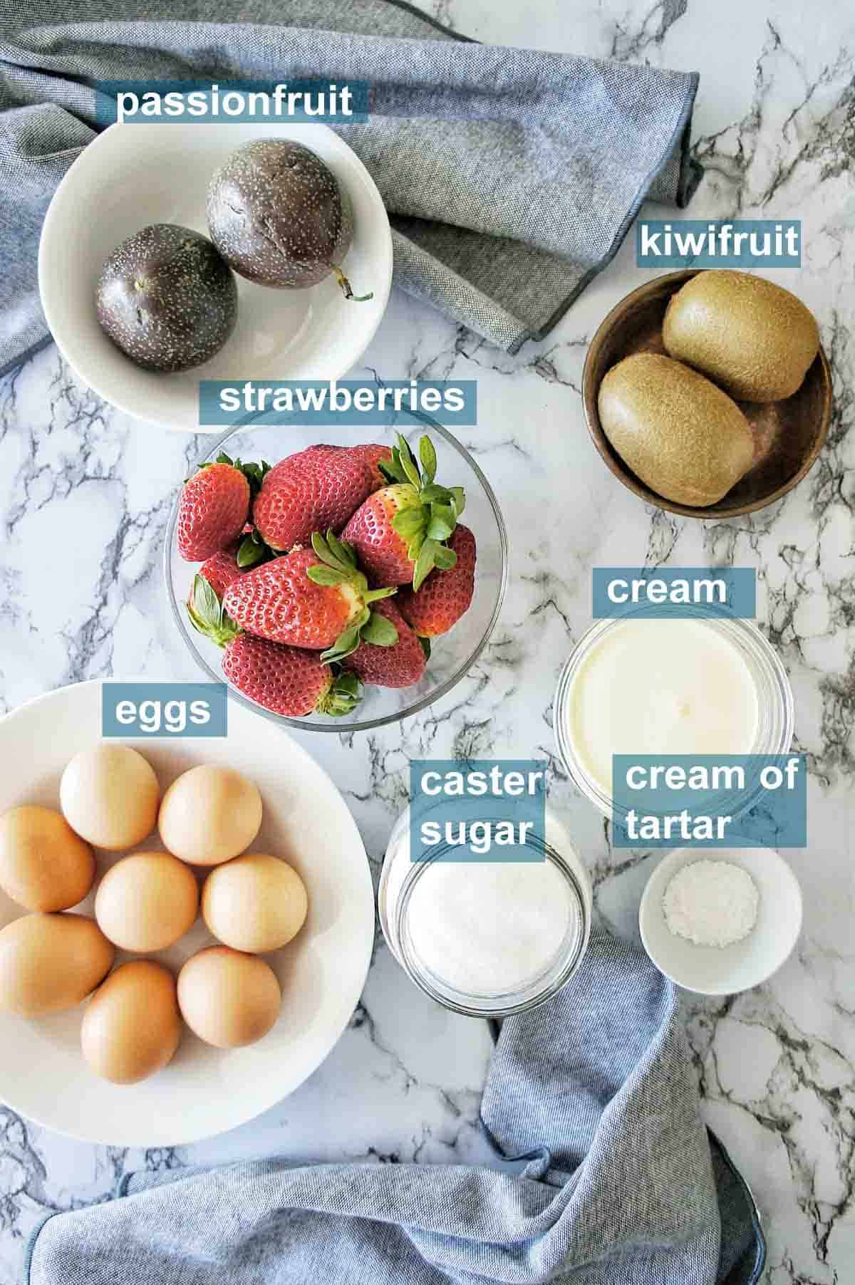 8 Egg Pavlova ingredients with text overlay