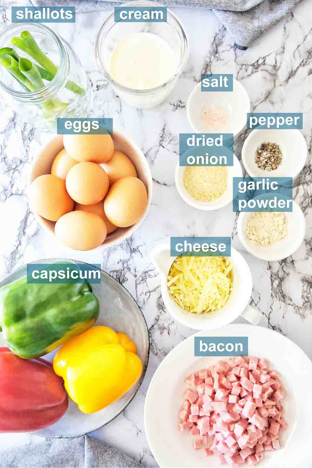 Bacon and egg slice ingredients