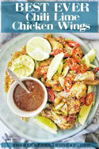 Best Ever Chili Lime Chicken Wings with text overlay