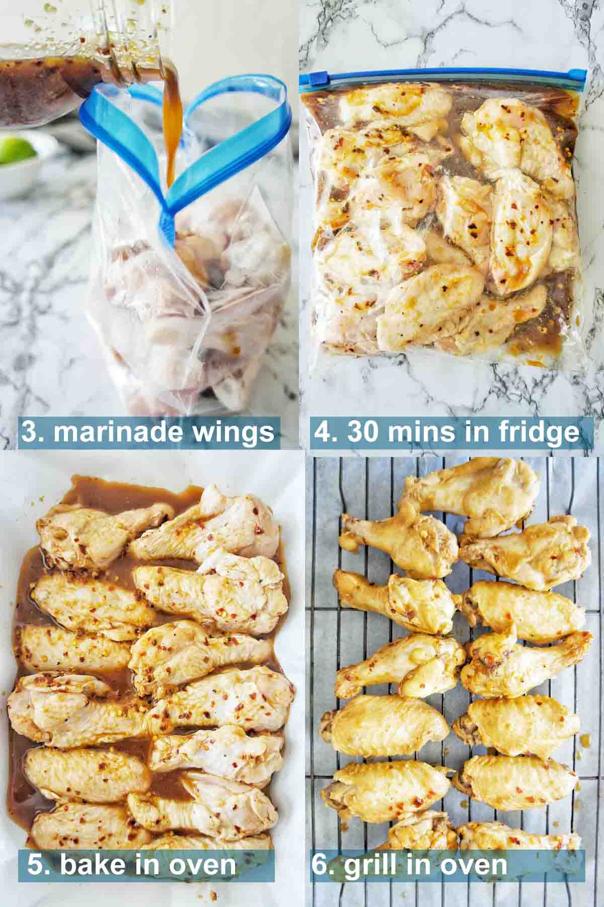 Steps for chili lime chicken wings with text overlay
