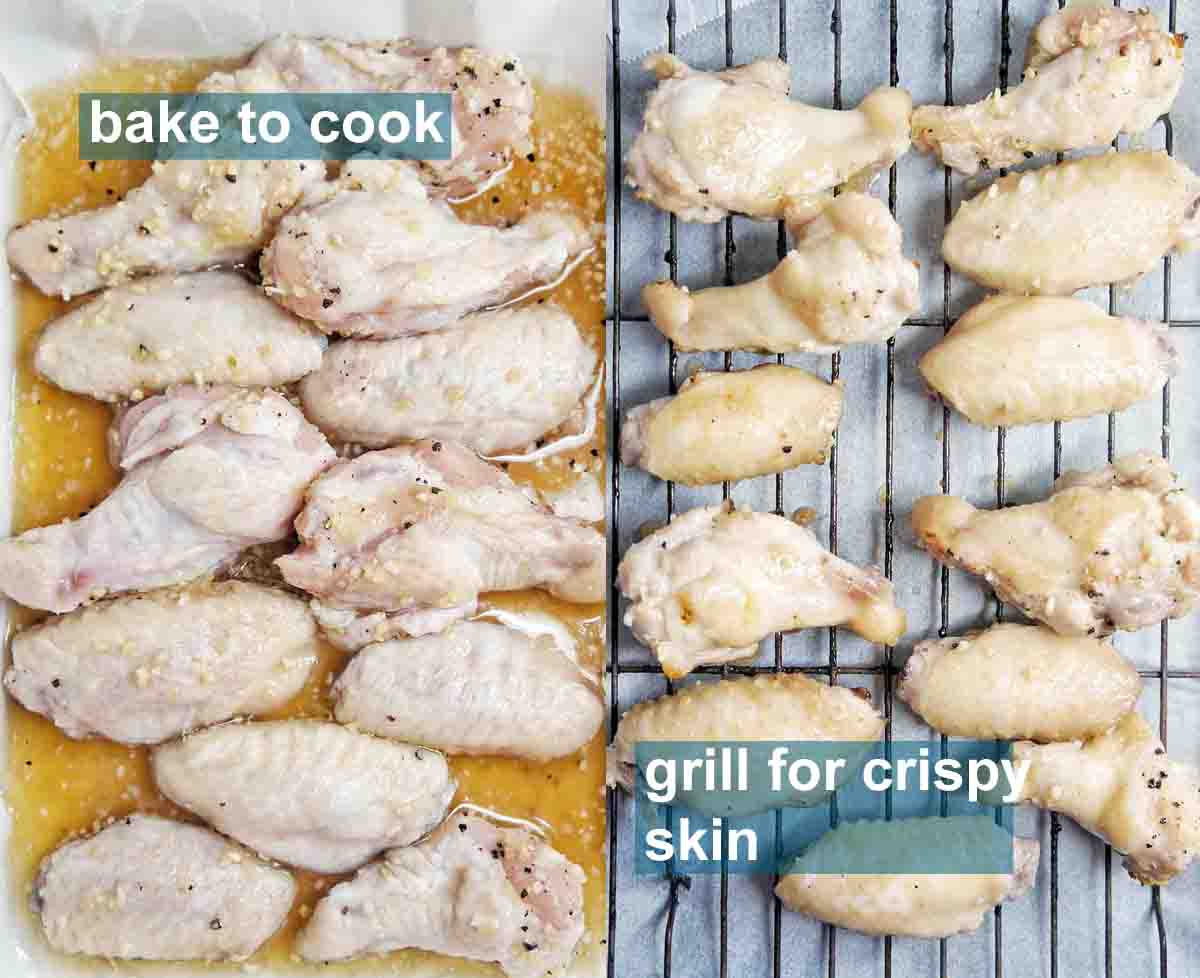 Honey Garlic Wings before and after cooking with text overlay