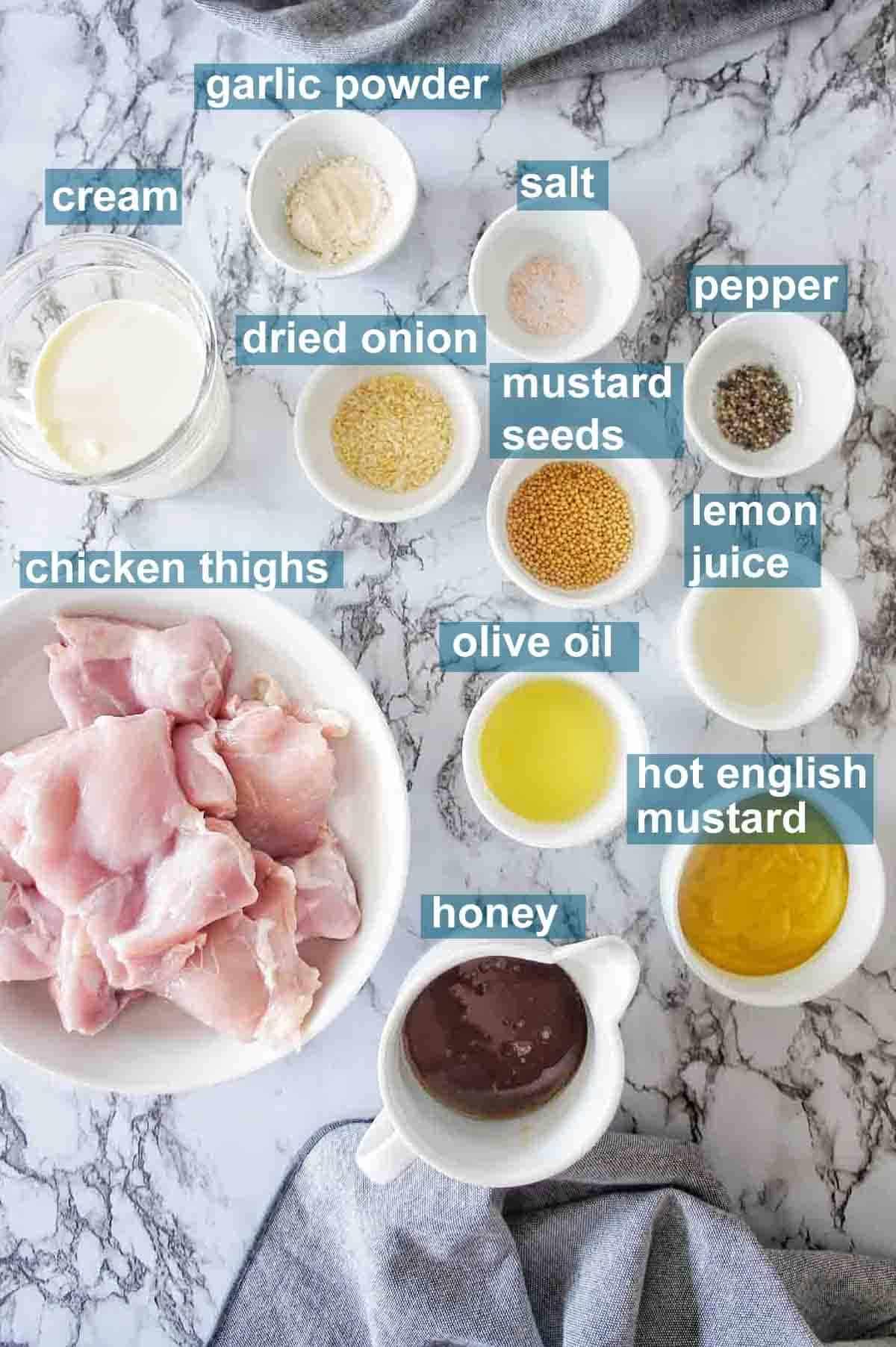 Honey Mustard Chicken Thigh ingredients with text overlay