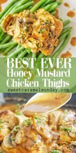 Honey Mustard Chicken Thighs with text overlay
