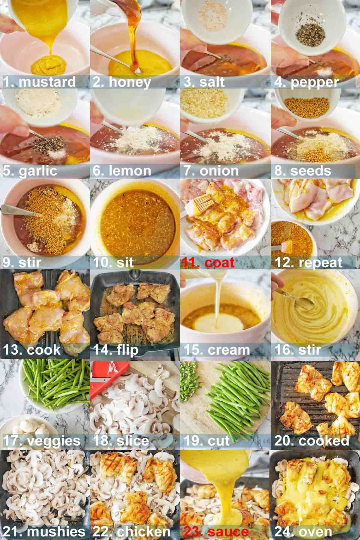 Honey Mustard Chicken Thighs instructions with text overlay