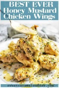 Honey Mustard Chicken Wings with text overlay