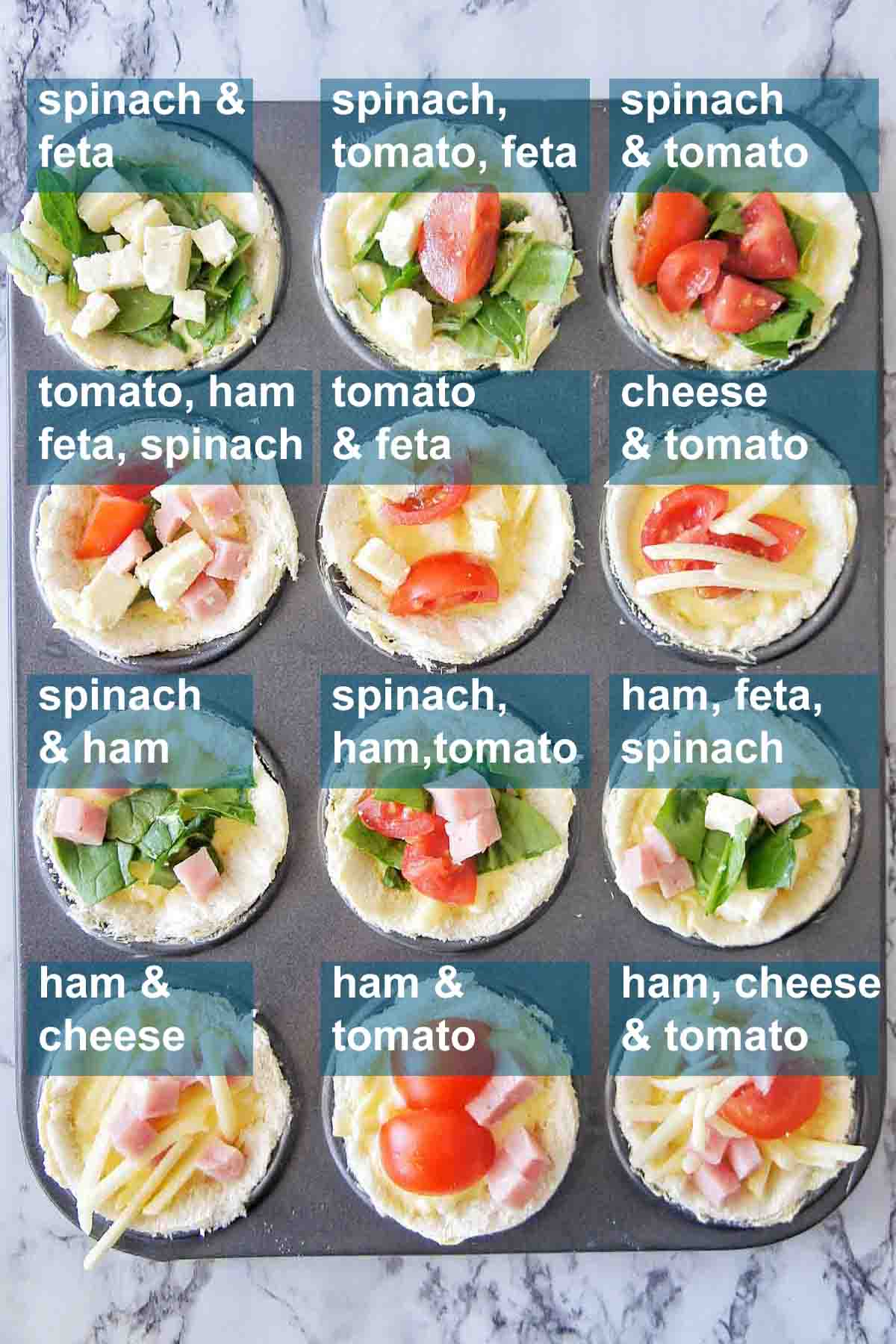 12 mini quiche varieties with text overlay
