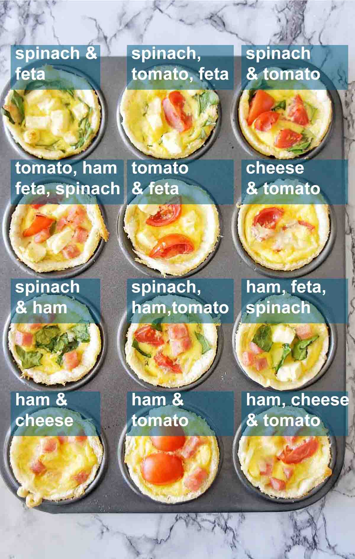 12 cooked mini quiches in a patty pan with text overlay