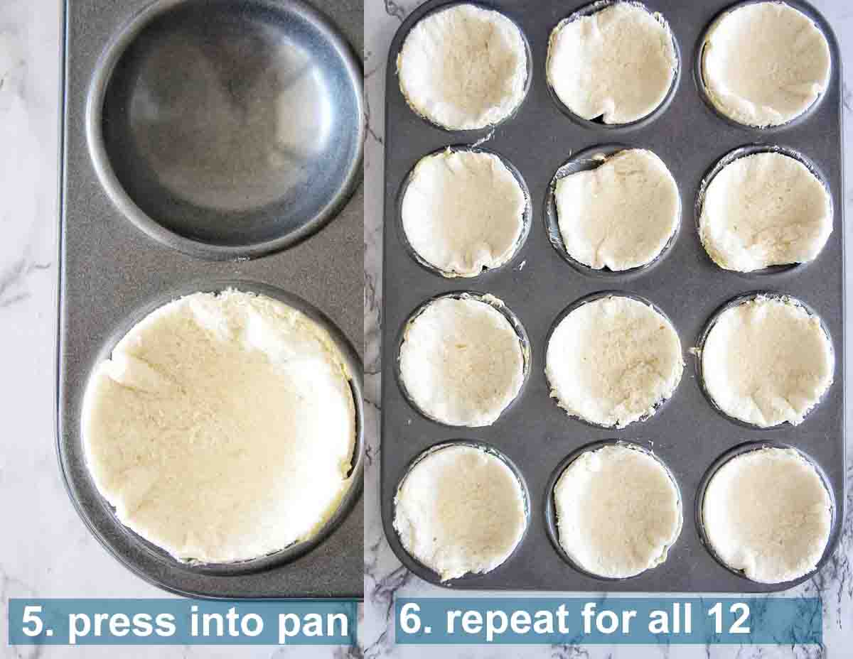 How to make mini quiches steps 5 through 6