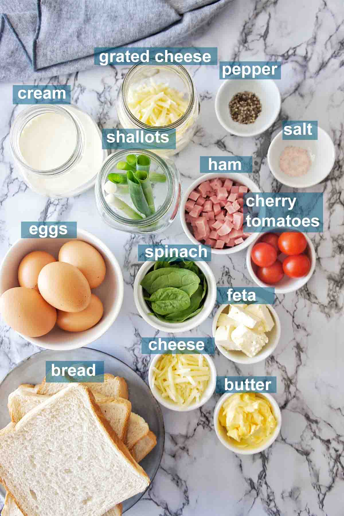 Ingredients for mini quiches on white background with text overlay