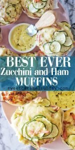 Zucchini and Ham Muffins with text overlay