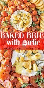 Baked Brie with Garlic and text overlay