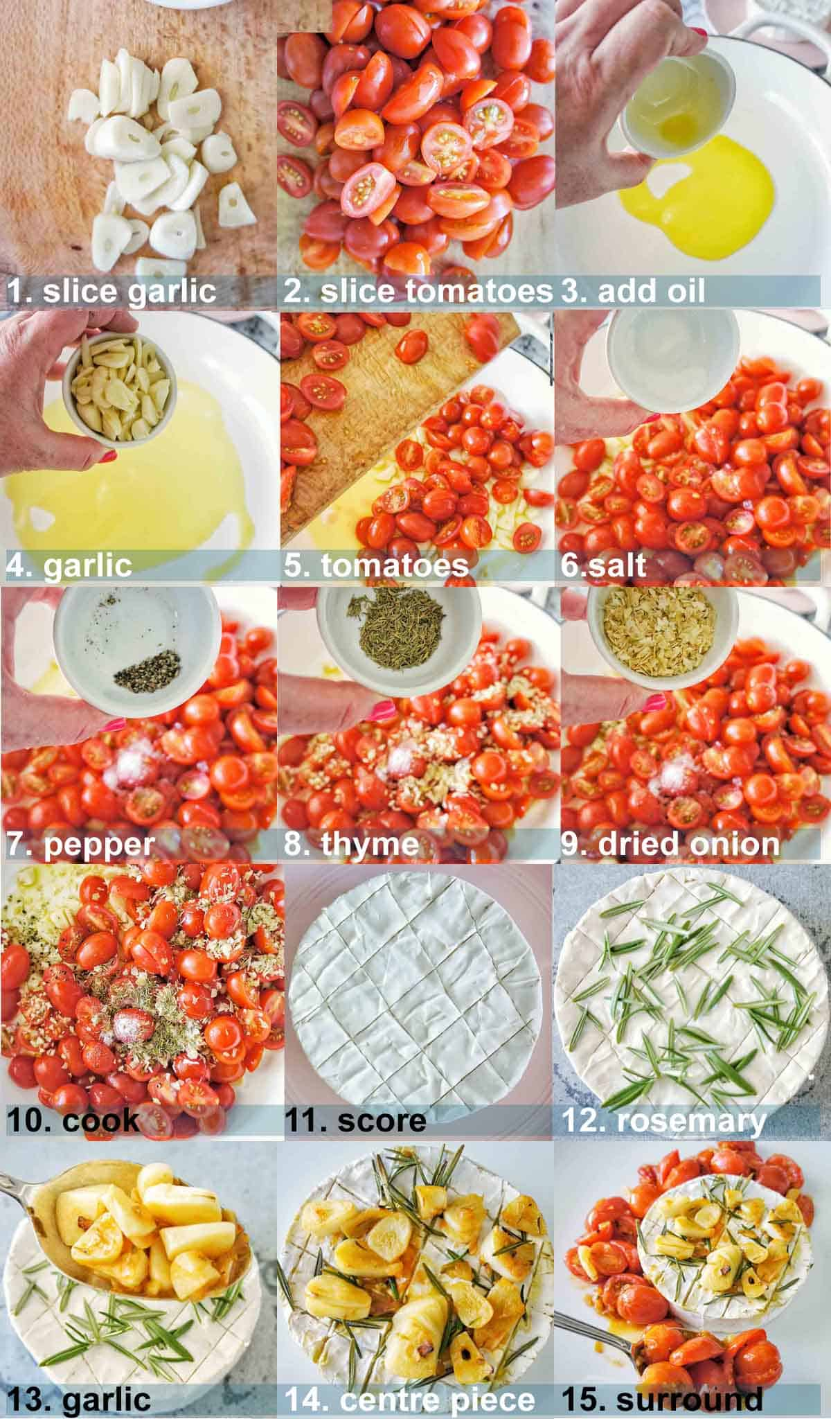 Garlic Baked Brie process shots with text overlay