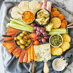 Grazing Platter with small white bowl of tooth picks