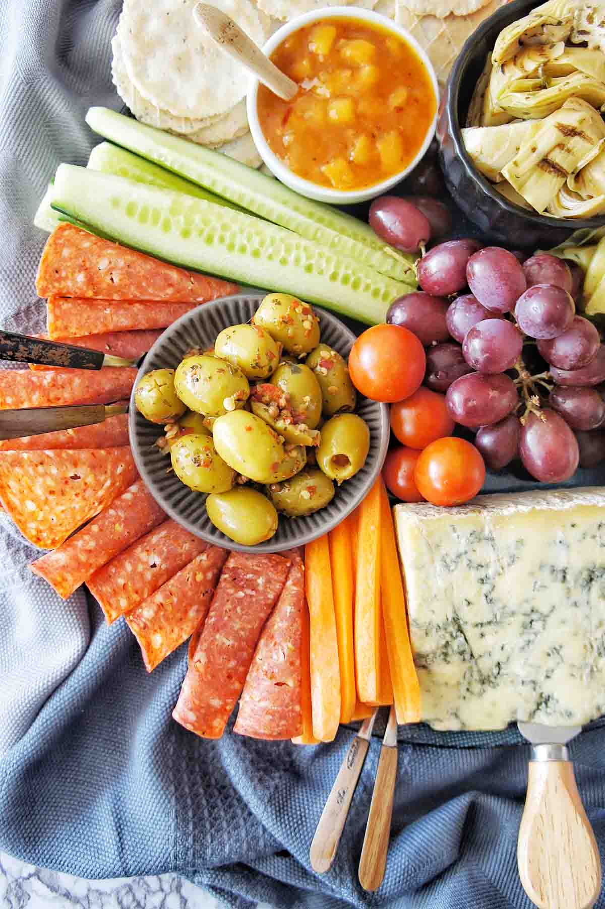 Grazing Platter with salami, cheese and olives