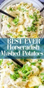 Horseradish Mashed Potatoes with text overlay