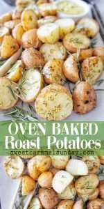 Oven Baked Roasted Potatoes with text overlay