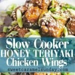 Slow Cooker Honey Teriyaki Chicken Wings with text overlay