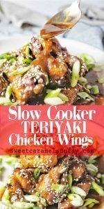 Slow Cooker Teriyaki Chicken Wings with text overlay