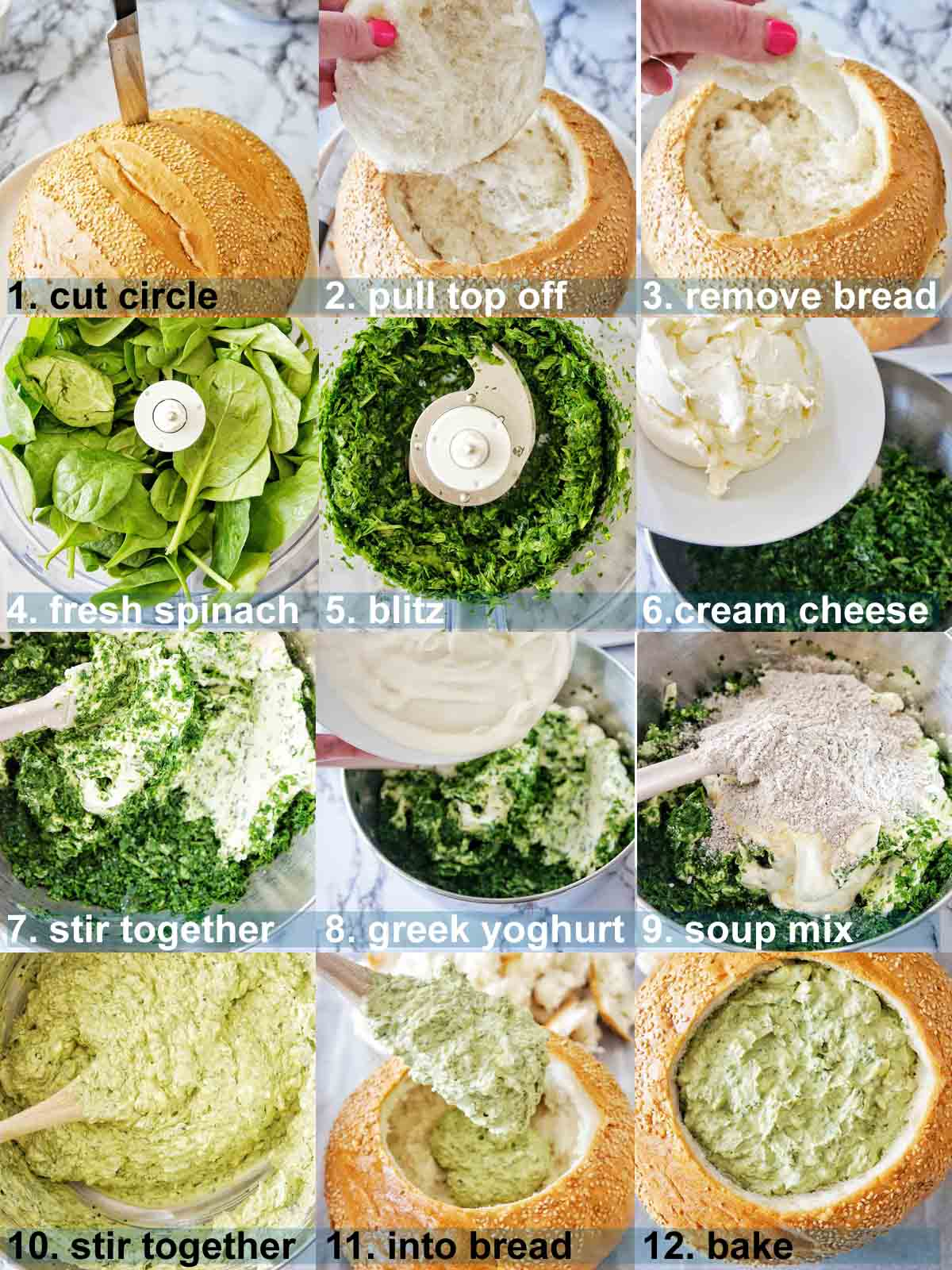 Bread bowl dip method with text overlay