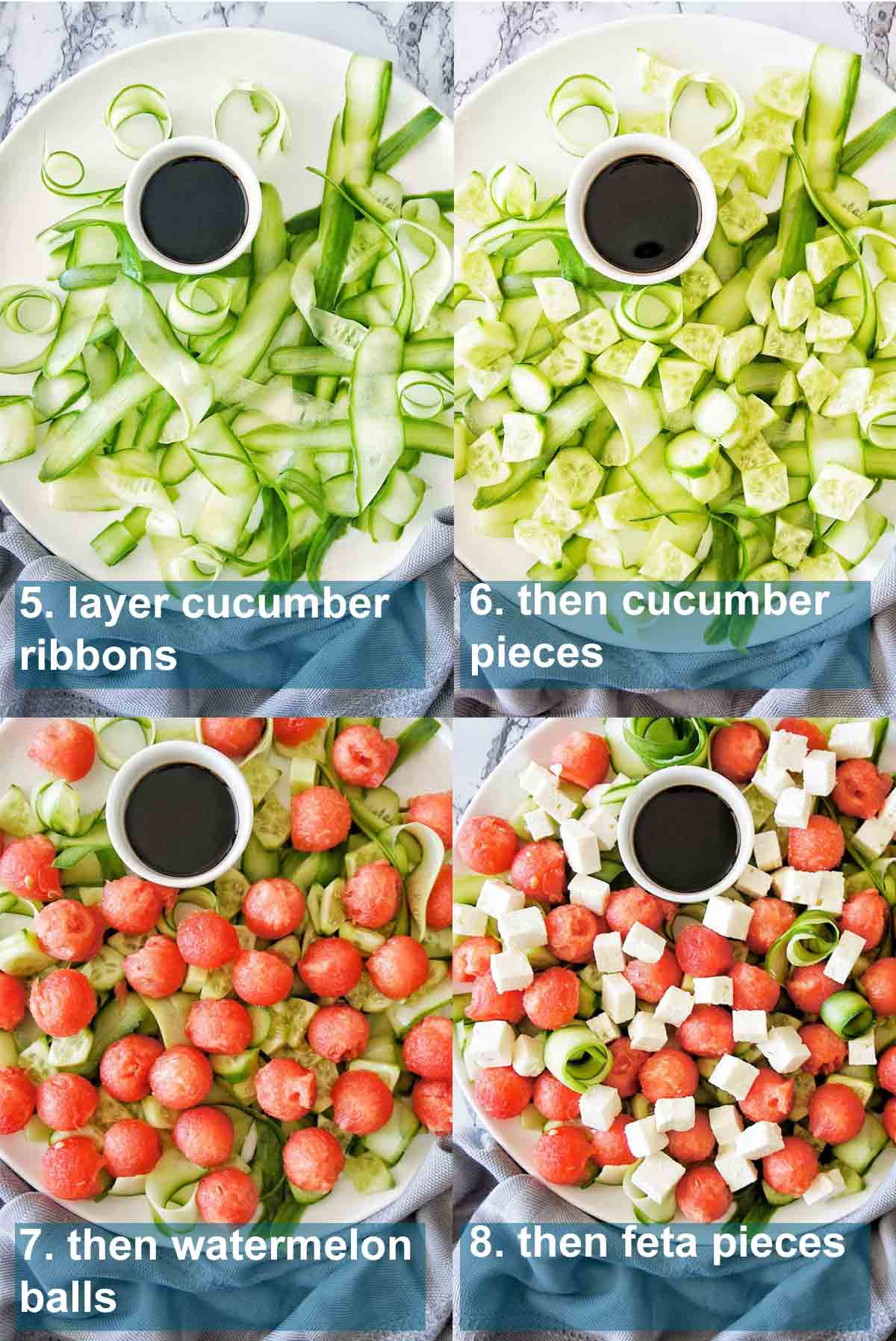 Watermelon Salad process shots with text overlay