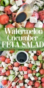 Watermelon Cucumber Feta Salad with text overlay