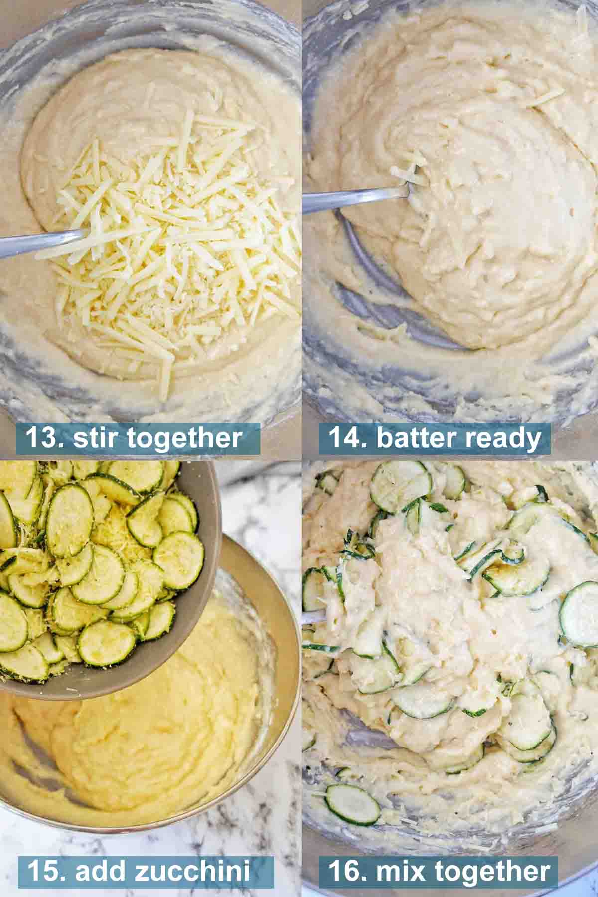 Zucchini muffins recipe batter steps with text overlay