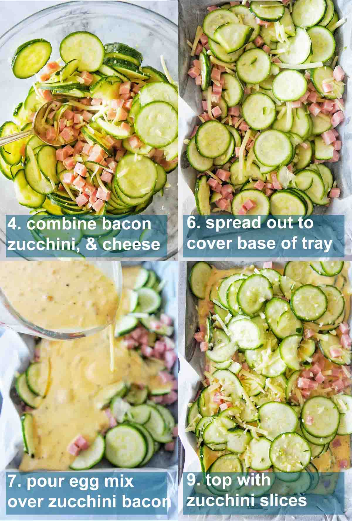 Zucchini and Bacon slice key steps with text overlay