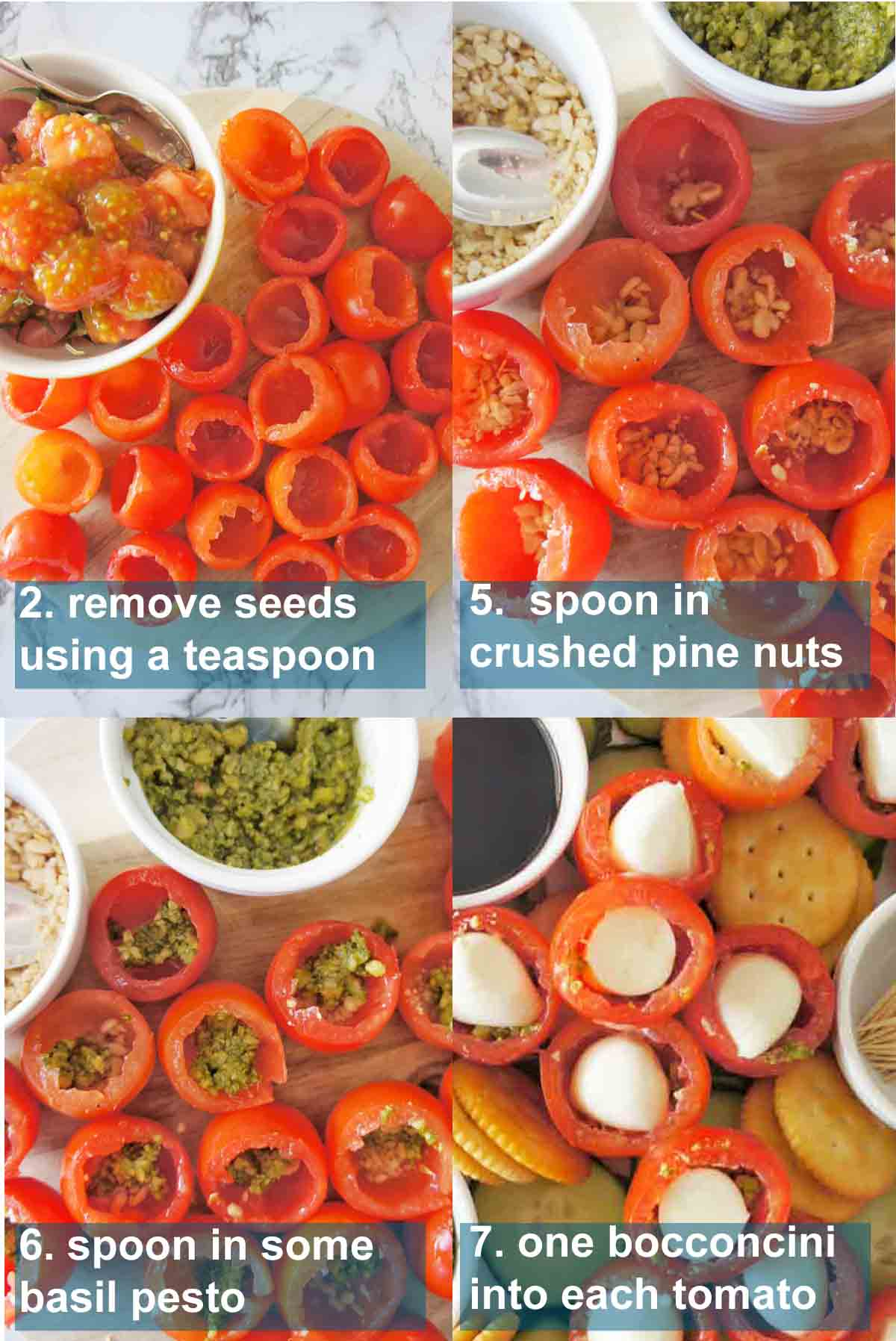 Caprese bites instructions with text overlay