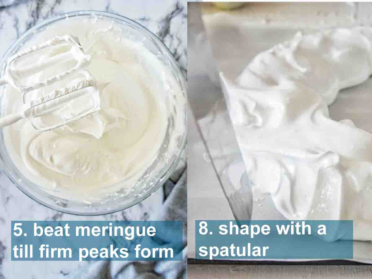 Christmas Wreath Pavlova meringue instructions with text overlay