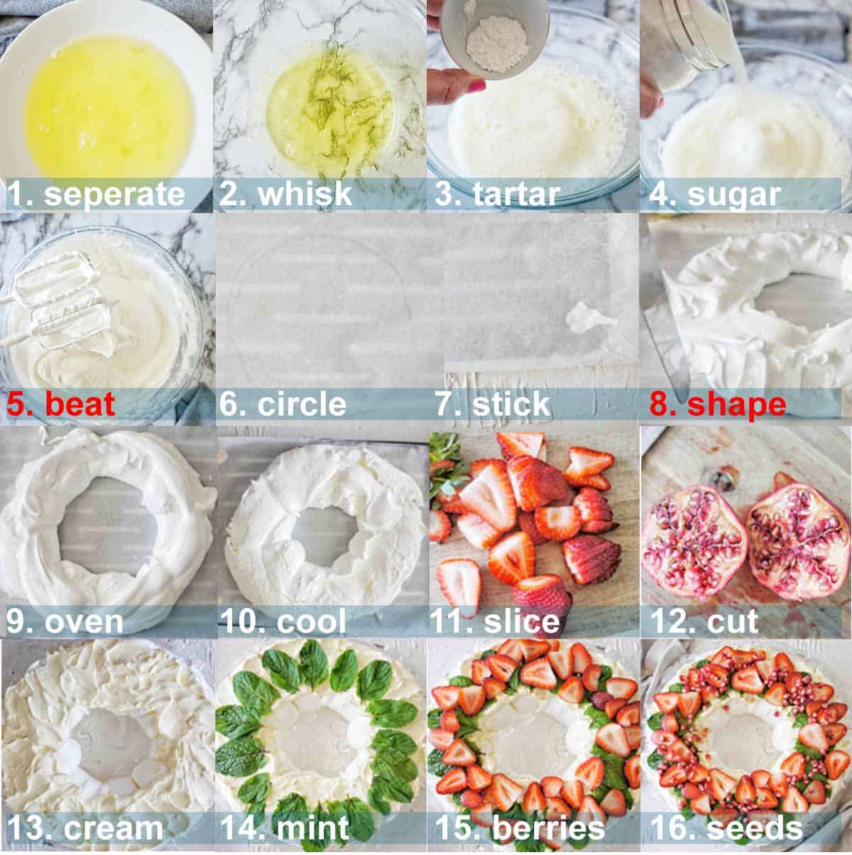 Christmas Wreath Pavlova process shots with text overlay
