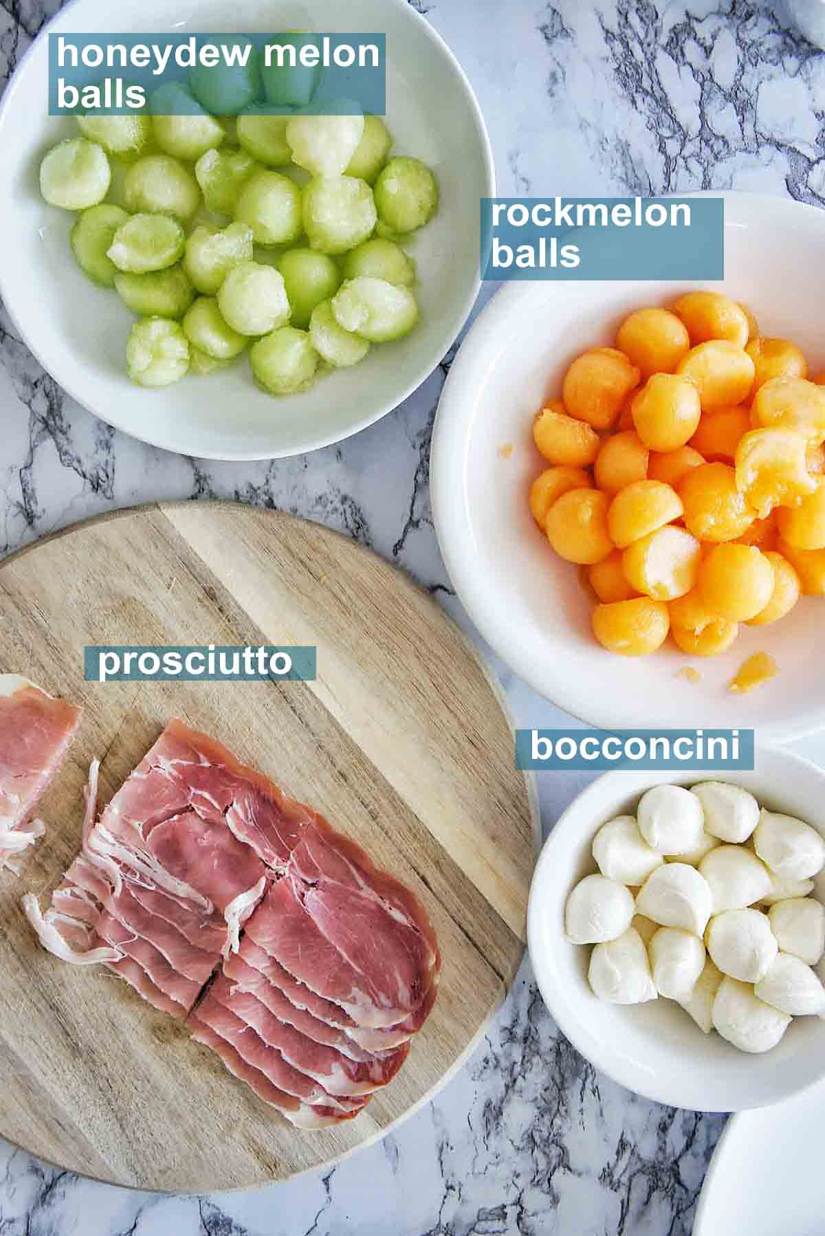 Italian appetizers Melon and Prosciutto skewers with text overlay