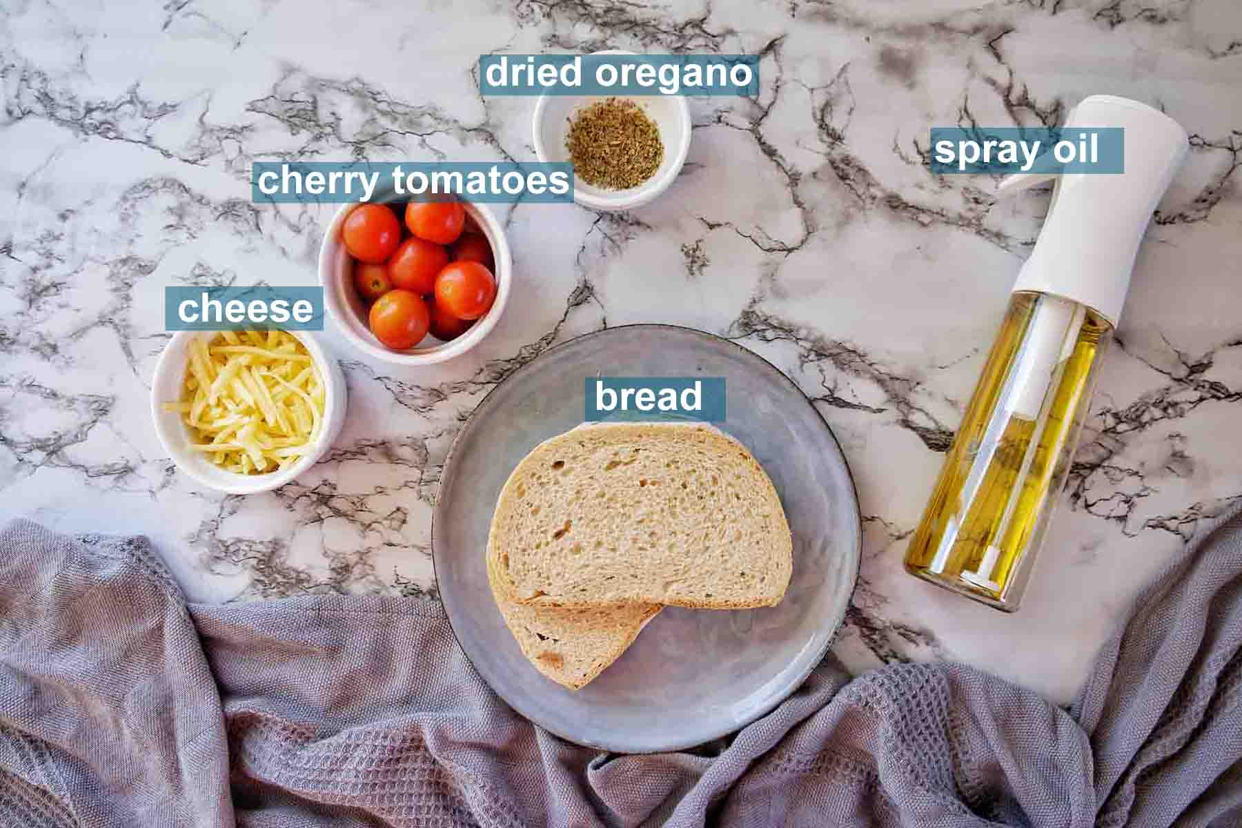 Ingredients for Air Fryer Cheese on toast with text labels