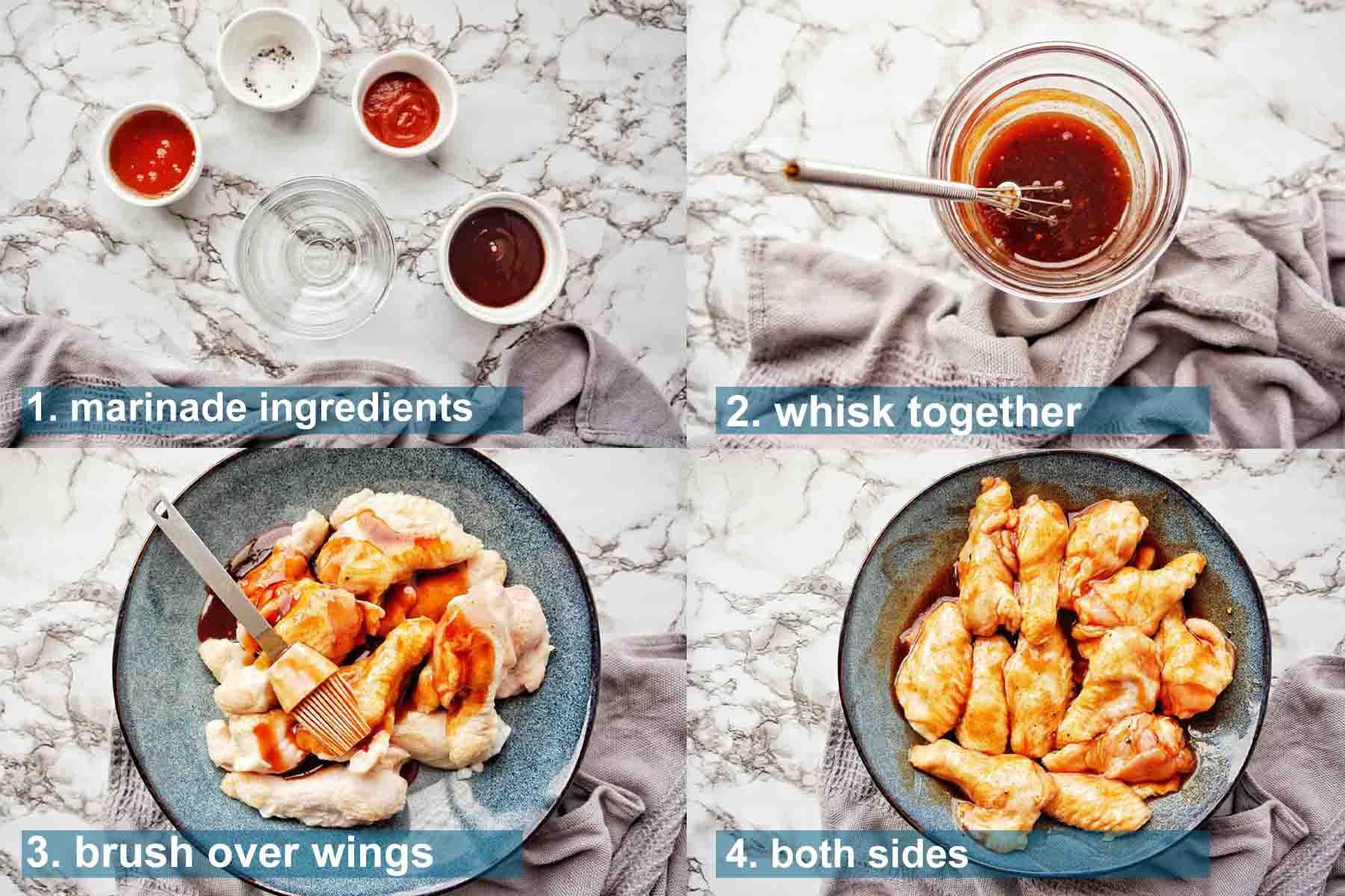Air Fryer Honey BBQ Wings method 1 to 4