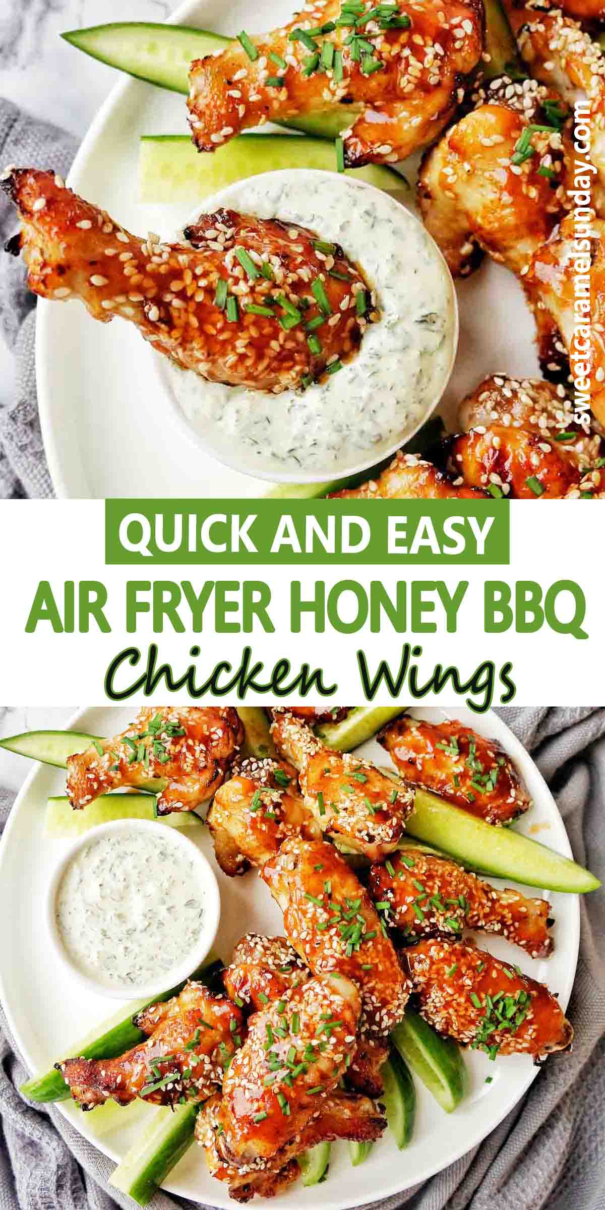 Air Fryer Honey BBQ Chicken Wings with text label